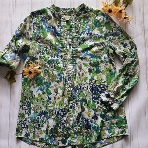 Appleseed's floral pleated boho tunic size M